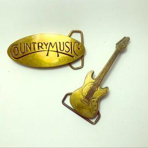 Country Music Belt Buckles Guitar Vintage Brass